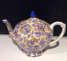 Vintage Crown Ducal Pansy Chintz Teapot 5 Tall Blue Trim