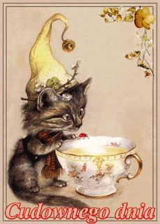 Fairy Cat would like some tea with her milk Images Vintage, Vintage Cat, Vintage Postcards, Animals And Pets, Cute Animals, International Cat Day, Image Chat, Gatos Cats, Here Kitty Kitty