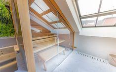 Sauna Klafs s čelním prosklením Sauna, Lounges, Halle, Stairs, Loft, Bed, Furniture, Model, Home Decor