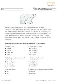 Printables Reading Comprehension Worksheets Multiple Choice comprehension student and reading on pinterest having strong skills will also help in other subjects students read the text about a polar bear answer mult