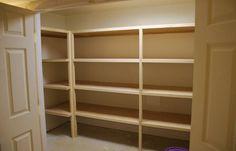 built in finished basement storage shelves