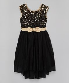 Look at this Speechless Black & Gold Sequin Hi-Low Dress on #zulily today!