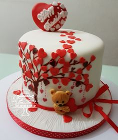 Love Cakes #Happy #Birthday #Cake #Red #Heart #Fondant #Cute #Bear #AllEdible #Love #ButterCake #FarooBakes #FarooZsBoutique