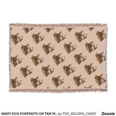 MANY DOG PORTRAITS ON TAN WARM THROW BLANKET