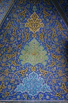 Tile detail, Sheikh Lotfollah Mosque, Esfahan, Iran
