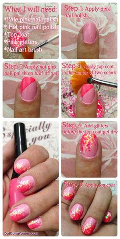 DIY Pink Glitter Nail Art Tutorial #nailarttutorial