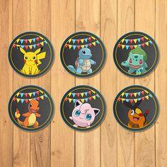 Pokemon Cupcake Toppers Chalkboard Pokemon by SometimesPie