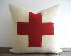 Wool Blanket Pillow Cover Red Swiss Cross