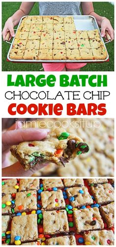 Large Batch Chocolate Chip Cookie Bars From Jamie Cooks It Up! Large Batch Chocolate Chip Cookie Bars From Jamie Cooks It Up! Köstliche Desserts, Delicious Desserts, Dessert Recipes, Yummy Food, Bar Recipes, Recipies, Bar Cookie Recipes, Tasty, Crowd Recipes
