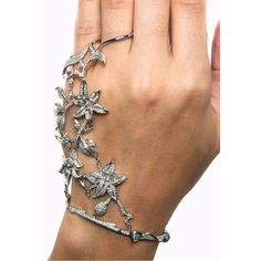 Runa Jewelry Floral Diamond Bracelet With Ring ($13,203) ❤ liked on Polyvore featuring jewelry, bracelets, rings, accessories, jewels, white gold, diamond jewelry, grey jewelry, diamond bangles and diamond fine jewelry