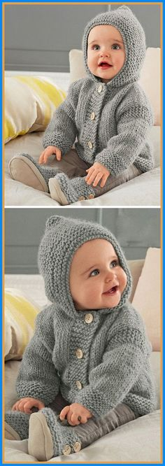 Hooded Coat - Free Pattern Free Knitting Pattern History of Knitting Wool rotating, weaving and stitching jobs such as BC. Boys Knitting Patterns Free, Baby Cardigan Knitting Pattern Free, Baby Sweater Patterns, Knit Baby Sweaters, Knitted Baby Blankets, Knitting For Kids, Baby Patterns, Free Knitting, Crocheting Patterns