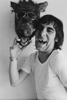 The Who's drummer Keith Moon touching a preserved warthog's head wearing aviator glasses. Get premium, high resolution news photos at Getty Images Keith Moon, Moon Rock, Jackson Pollock, Music Icon, Classic Rock, Rock Music, Music Artists, Rock Bands, Rock N Roll