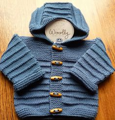 Hand knitted Modern Cobalt Blue hooded baby jacket cardigan sweater merino wool 0 - 3 months