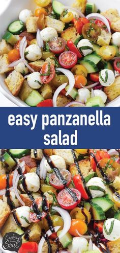 Panzanella Salad! This easy and classic panzanella salad recipe is perfect for summer. Made with rustic bread, cherry tomatoes, cucumbers, onions, basil, mozzarella, and a delicious balsamic glaze #cookingformysoul Summer Potluck, Summer Salads, Easy Salad Recipes, Healthy Recipes, Chicken Artichoke Pasta, Tomato Basil Pasta, Rustic Bread, Eating Vegetables, Balsamic Glaze