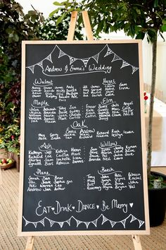 Black board table plan