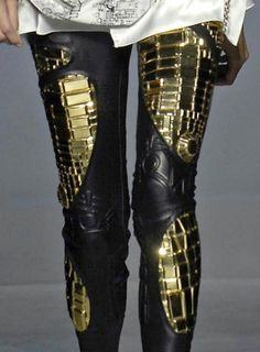 Gold & leather robot leggings. Yes.