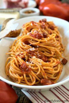 Spaghetti all'Amatriciana ~ a simple, classic pasta dish with fantastic flavor!