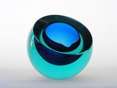 Cenedese sommerso cobalt blue and aqua glass bowl