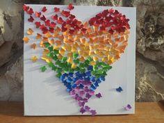 Butterfly Art / Butterfly Rainbow Heart / Nursery Decor /Children's Room Decor / Modern Art for Children - Made to Order by nitzzdarkangel Diy Wall Art, Diy Art, 3d Wall, Wall Mural, Cute Crafts, Diy Crafts, Paper Art, Paper Crafts, Butterfly Wall Art