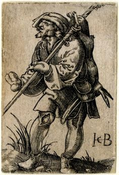 1524 - 61 Print made by Jacob Binck -   A peasant carrying a hare on his back; walking to left.