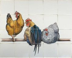 Landelijk tableau, kippen op stok. Prachtige beschildering van Friese witjes, verkrijgbaar bij huizerwitjes. nl