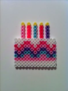 Birthday cake hama perler beads - great for birthday card! Perler Bead Designs, Hama Beads Design, Diy Perler Beads, Perler Bead Art, Pearler Beads, Melty Bead Patterns, Pearler Bead Patterns, Perler Patterns, Beading Patterns