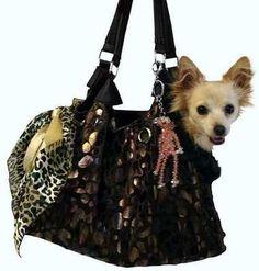 Black Pet Carrier with Animal Print Foil