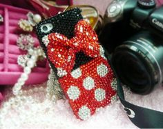Samsung Galaxy II S2 Skyrocekt i727 Sprint Epic Touch 4g D710 T-mobile T989 i9100,Samsung S4 active i9295 Case:Bling Rhinestones Red Dot Bow