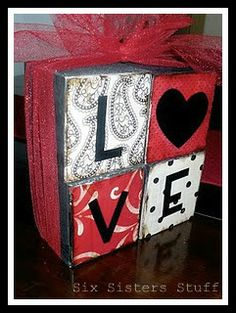 Easy Valentines Love Blocks Tutorial | Six Sisters' Stuff
