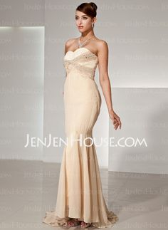 Evening Dresses - $158.99 - Sheath Sweetheart Sweep Train Chiffon Evening Dresses With Lace Beading (017014445) http://jenjenhouse.com/Sheath-Sweetheart-Sweep-Train-Chiffon-Evening-Dresses-With-Lace-Beading-017014445-g14445