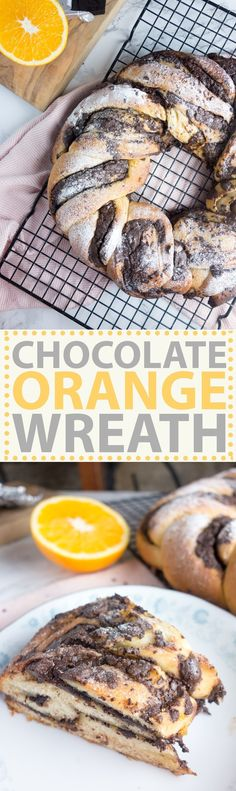 A festive chocolate orange bread wreath made from buttery brioche filled with dark chocolate, sugar and orange then sprinkled with icing sugar!