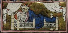 conception of Merlin  Robert de Boron, L'Estoire de Merlin, Northern France ca. 1280-1290. Français 95, fol. 113v