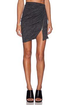 The Kooples Ruched Zipper Mini Skirt in Grey