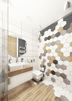 You need a lot of minimalist bathroom ideas. The minimalist bathroom design idea has many advantages. See the best collection of bathroom photos. Hexagon Tile Bathroom, Bathroom Accent Wall, Bathroom Accents, Hexagon Tiles, Bathroom Mirrors, Accent Walls, Bathroom Toilets, Bathroom Renos, Small Bathroom