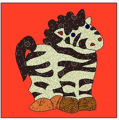 a free appliqu� quilt block Zebra pattern for a circus quilt