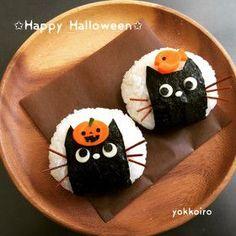 簡単キャラおにぎり★クロネコ★ハロウィン Baby Meal Plan, Onigiri Recipe, Onigirazu, Japanese Food Art, Cute Bento Boxes, Kawaii Cooking, Sushi Party, Kawaii Bento, Bento Recipes