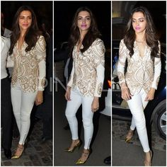 The team of 'Happy New Year' was present at ABP Mazha Party last night. Deepika attended the event looking chic in a white and gold jacket from desig. Bollywood Celebrities, Bollywood Fashion, Bollywood Style, Bollywood Actors, Indian Jackets, Lehenga Blouse, Sari, Gold Jacket, Formal Looks