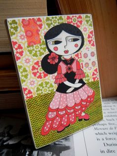 Sally Dances Flamenco - Block Mounted - by ChimpalimpaDesigns