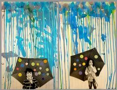 Spring Art -- child friendly version of the crayon melting art. take a black and white photo of a student holding umbrella. make colored dots on umbrella.