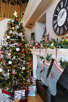 Festive red and white Christmas home tour with a rustic, farmhouse touch. Beautiful Christmas tree and Christmas mantel.