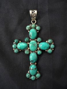 STERLING SILVER & TURQUOISE CROSS NECKLACE PENDANT #Pendant