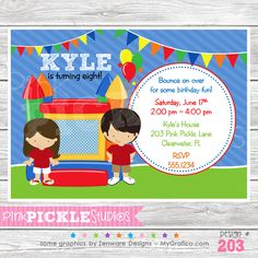 Bounce House 2 Personalized Party Invitation