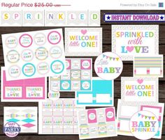 SALE Sprinkled with Love party package by EasyPartyPrintables
