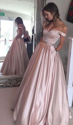 2017 Pearl Pink Off-the-Shoulder Prom Dresses with Pockets