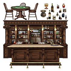 These Western Saloon Props feature a full color printed design of a bar prop and table, along with other items to set the saloon theme.