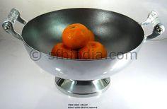 Crystal Handle Aluminium Large Bowl.  Centerpiece.Pewter Finish
