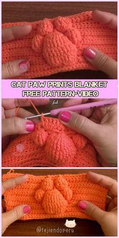 Crochet Cat Paw Prints Blanket Free Pattern-Video – Crochet World Chat Crochet, Crochet Amigurumi, Free Crochet, Crochet Cat Pattern, Crochet Stitches Patterns, Free Pattern, Afghan Patterns, Cross Stitches, Print Patterns