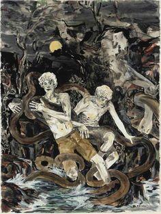 blastedheath:  Hernan Bas (American, b. 1978), Laocoön's Sons, 2003. Graphite and watercolor on paper, 30 x 22½ in.