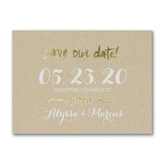 Krafted Love - Save the Date This kraft save the date is perfect with special touches of foil. Pick a trim option and add your favorite photo as a couple to the back.