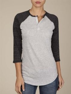 Alternative Apparel Women's 3/4-Sleeve Raglan Henley